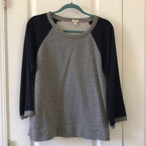 J Crew Contrast Sleeve Sweatshirt